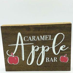 Caramel Apple Bar Wooden Block Sign